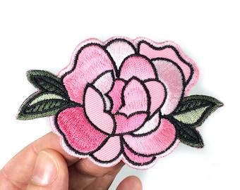 Rose pivoine autocollant Patch - broderie de fleurs - Peel & Stick + fer-sur (181)