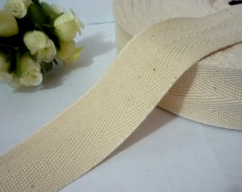 "10y / 9 mt Beige Cotton Twill Tape (Double Arrow) Wrapping Binding Tape Bias Tape 1-5/8"" / 4cm TR9"
