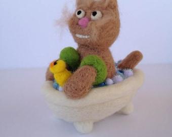 Kitten in Tub Needlefelted