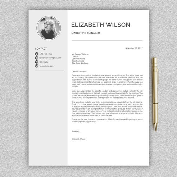 Resume Template / CV Template Cover Letter Professional