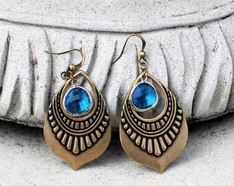 Chandelier Earrings, Bohemian Earrings, Blue Jewel