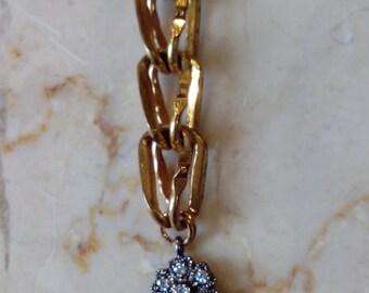Vintage necklace, chain 1950s, drop blue glass