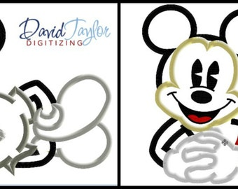 Classic Mickey Mouse Laying Down - 2 design pack! - 4x4 5x7 6x10 7x10 in 9 formats - Applique - Instant Download - David Taylor Digitizing