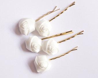 Bridal Hair Accessories, White Rose, White flower Hair Bobby Pin- set 5