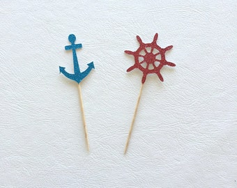 Nautical Cupcake Toppers - Anchor & Boat Steering Wheel Red / Blue Glitter x 12