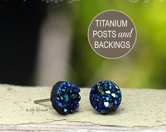 Glitter Stud Titanium Post Earrings - Blue, Teal, and Black Multi, 8mm Faux Druzy
