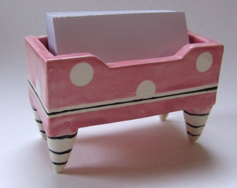 retro Pink Business Card Holder pottery dish :) with polka dots, black & white striped legs, rockabilly ladies office, women gift