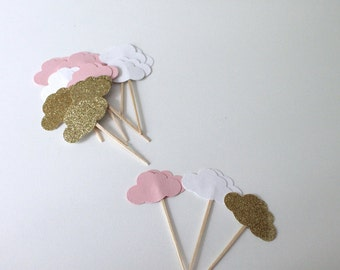 Pink, White, and Gold Cloud Cupcake Toppers- Baby Shower Decor, Cloud Baby Shower, Party Decor- Birthday Decor- Pink and Gold Baby Shower