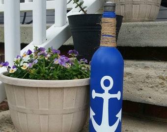 Anchor Wine Bottle Tiki Torch | Outdoor Decor | Patio | Porch | Deck | Lighting | Ocean | Sea | Citronella | Bug Repellent | Gift | Summer