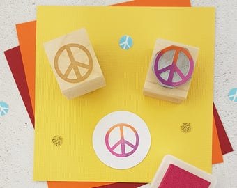 Peace Stamp - Mini Peace Sign Rubber Stamp - Peace stamp - Yoga Gift - Hippy Symbol - Love Stamp - Peace Love - Hippy Boho Present