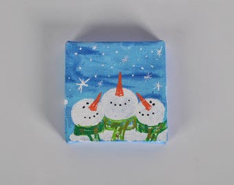 Mini Canvas Christmas Painting. Happy Snowmans