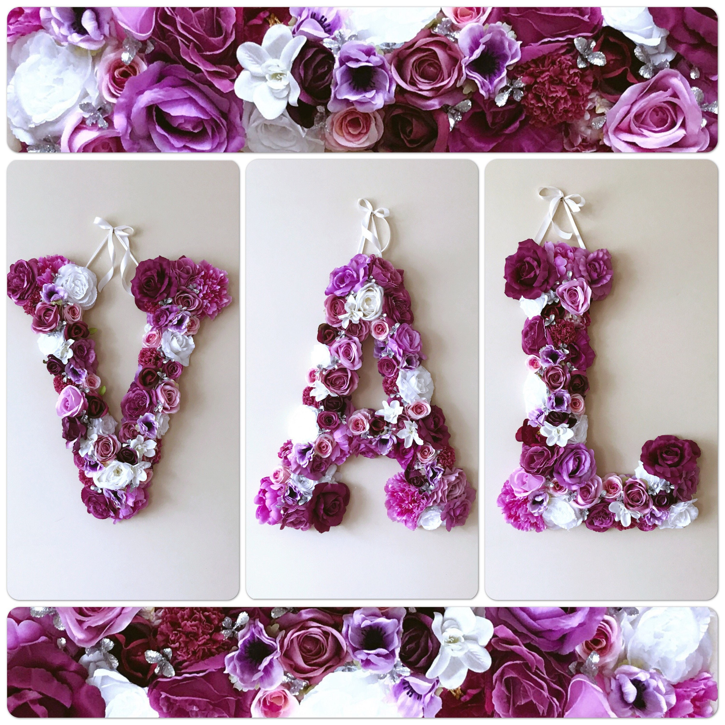 Flower Letters Vintage Styled Nursery Initials Floral