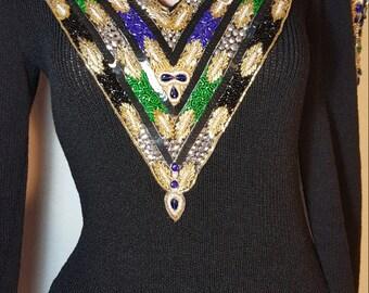 FREE  SHIPPING   Lillie Rubin Knit Beaded  Dress