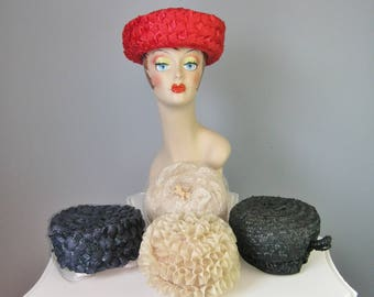 Lot of 5 Vintage Ladies Hat / Vtg 60s / Red, Black, Navy and ivory faux straw and fabric hats