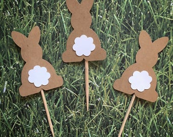 Easter Bunny Toothpicks / Cupcake Toppers (12 Count)