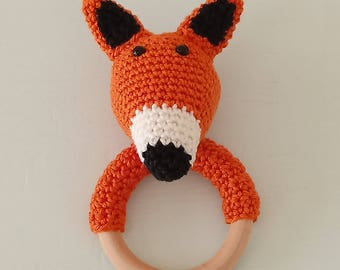 Franz the Fox crochet rattle/teething ring, amigurumi animal, crochet fox