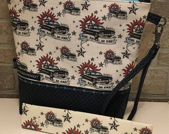 Supernatural inspired project zipper pouch with flat bottom and knitting needle cozy