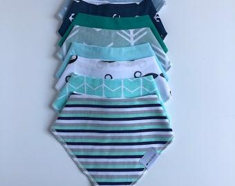 Narzbaby Baby Bandana Bibs (8-Pack) Blue Bibs, bib, Baby Bib, Baby Boy, Feeding, Drooling Covers | Adjustable Snaps for Infants| 100% Cotton
