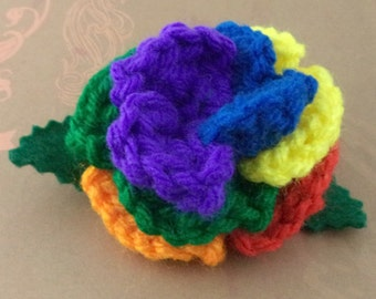 Crocheted Rose Bar Pin - Rainbow (purple center) (SWG-PS-RB02)