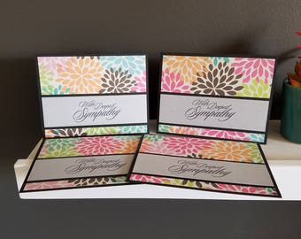 Black/Floral Sympathy Card Set (Can be blank OR with sayings pictured)