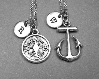 Compass necklace, Anchor necklace, Friendship necklace, Best friend gift, best friend jewelry, best friend necklace, traveler necklace