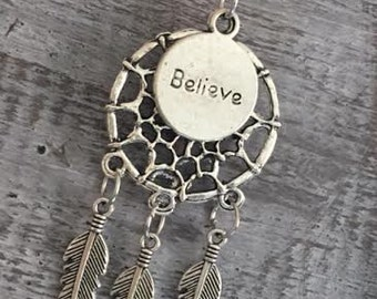 BELIEVE DREAM CATCHER Pendant Necklace
