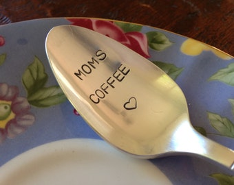Moms Coffee    vintage silverware hand stamped spoon
