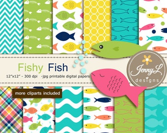 Fish Digital papers and Clipart, for Birthday, Scrapbooking Paper Party Theme, Planner
