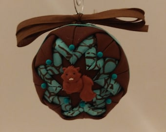 Brown and Blue folded fabric handmade ornament with chipmunk decoration