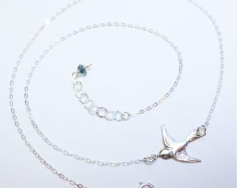 Minimalist Soaring Bird in Flight Necklace Sterling Silver