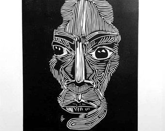 portrait print linocut.
