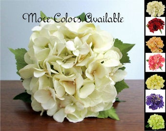 """Silk Hydrangea Bouquet, Color Choice Vanilla Ivory, White, Red, Peach, Pink, Yellow, Purple, or Light Apple Green, """"Grace"""""""