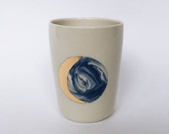 MOON TUMBLER. White and blue marbled cups with 22k gold (Made to Order)