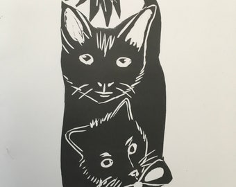 Kitten Love A5 Lino print card ,birthdays ,occasions Elaine Kelly artist Uk