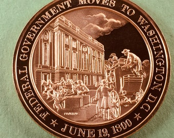 Franklin Mint Medal History Of United States Series Federal Government Moves To Washington D.C. 1800, 44 mm Bronze Mint Condition<>#PSY-195