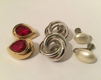 Lot Pairs Vintage Earrings - Gold Tone Earrings - Silver Tone Earrings - Faux Pearl - Napier