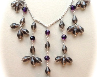 Sterling Silver and Smokey Quartz/Amethyst Necklace-18""