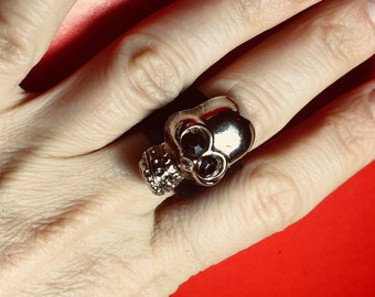 Shadow Skull Suede Ring