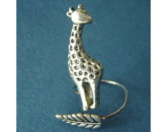 giraffe ring with a leaf wrap ring, adjustable ring, animal ring, silver ring, statement ring
