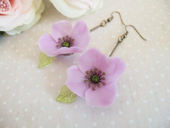 Poppy flower earrings purple poppy poppy flower earrings like this item mightylinksfo