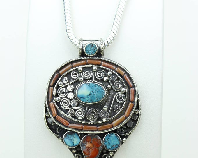 Coral Turquoise Native Tribal Ethnic Vintage Nepal Tibetan Jewelry OXIDIZED Silver Pendant + Chain P3974