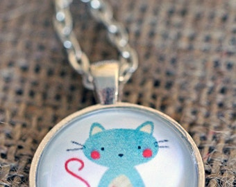FREE SHIPPING Blue Crafty Cat - silver or bronze pendant necklace