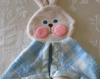 Vintage Child's Lovey Fisher Price 1979 Blue Plaid Bunny Rabbit Lovey #442 #443 Security Baby Blanket Lovey, Nursery Security Blanket, Vtg.