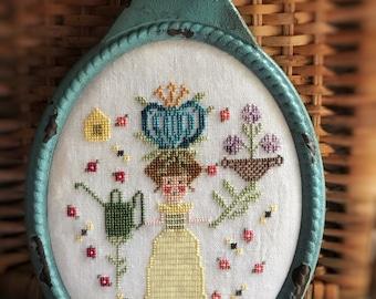 In Her Garden cross stitch pattern