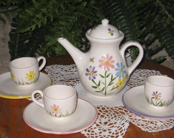 """Little Girls Tea Set """"Garden Tea party Set"""" (Optional personalization included) """"see additional pictures"""""""