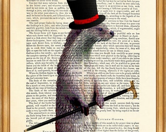 Otter Gift, OTTER Gentleman, Otter With a Top Hat, DICTIONARY PRINT, Vintage Dictionary Page, up-cycled book, Gift For, Otter with Hat