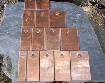 """Copper (50) two hole tags 21 ga. (.032"""") 24 ounce, Finished Copper Blanks, READY TO STAMP, Hand Stamping Supplies, For Hand Stamping"""