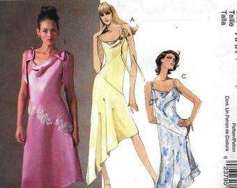 McCall's M4774 Evening Elegance Dress Lined Cowl Neck Asymmetrical Hem Sewing Pattern UNCUT Size 4, 6, 8, 10