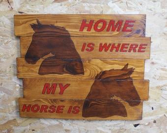 Handmade wooden 'HORSE' plaque