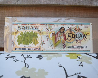 SQUAW Vintage Maryland Sifted Peas Tin Can Label, Indian, ** Original Label*
